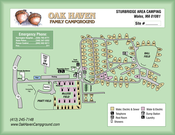 Oak Haven Campground Site Map